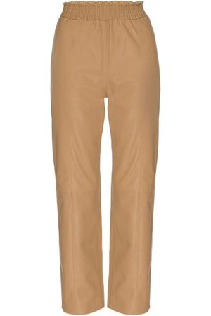 Frame Leather Straight-leg Trousers - Womens - Camel