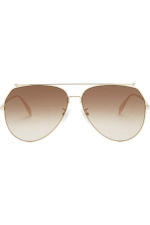Alexander McQueen Men Aviators - Oversized Aviator Metal Sunglasses - Mens