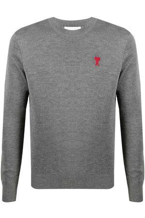 Ami Men Sweatshirts - Ami de Coeur crew-neck jumper - Grey