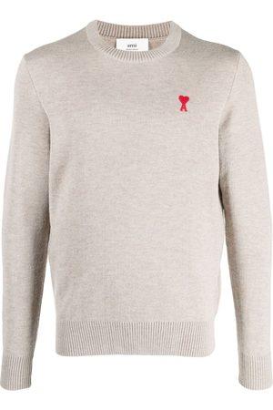 Ami Men Sweatshirts - Ami de Coeur crew-neck jumper - Neutrals