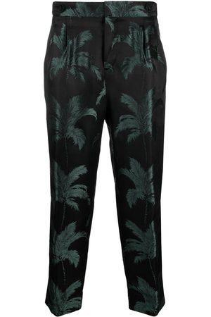 Saint Laurent Palm tree-jacquard wide-leg trousers
