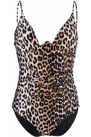 Ganni Women Swimsuits - Leopard-print ruched swimsuit - Neutrals