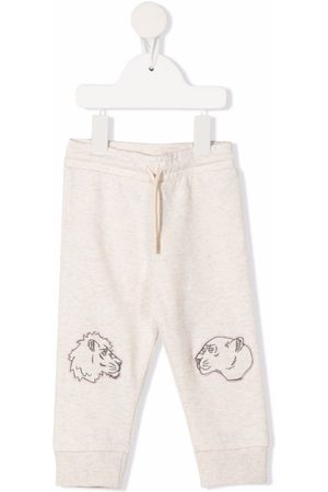 Kenzo Kids Embroidered animal track pants - Neutrals