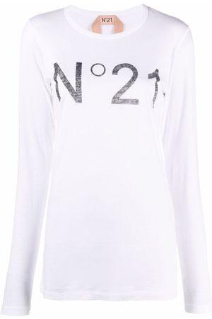Nº21 Women Long Sleeve - Logo-print long-sleeve T-shirt