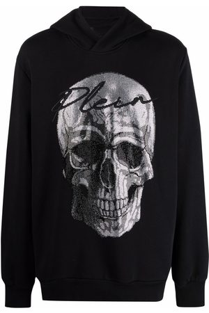 Philipp Plein Men Hoodies - Crystal-embellished skull hoodie