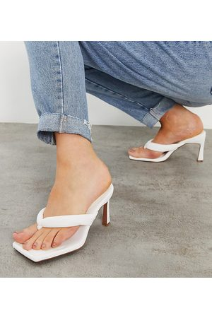 ASOS DESIGN Women Heeled Sandals - Wide Fit Haven padded toe thong heeled sandals in