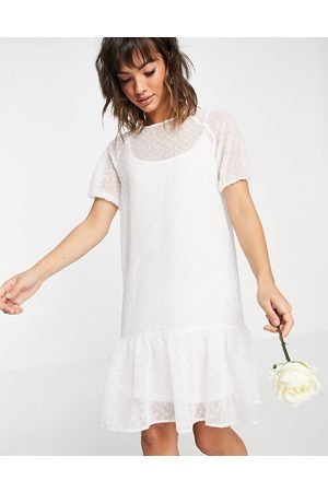 VILA Bridal midi smock dress with puff sleeves and frill hem in