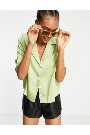 Fashion Union Plus relaxed retro coordinating shirt in lime satin