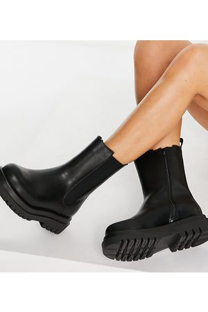 Truffle Collection Wide fit mid height chunky chelsea boots in