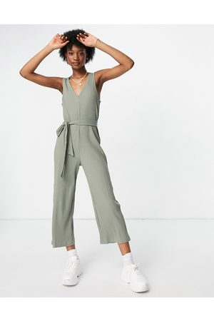 Monki Women Jumpsuits - Sandra organic cotton ribbed jersey wide leg jumpsuit in