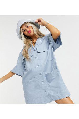 Collusion Revere mini shirt dress in blue-Blues