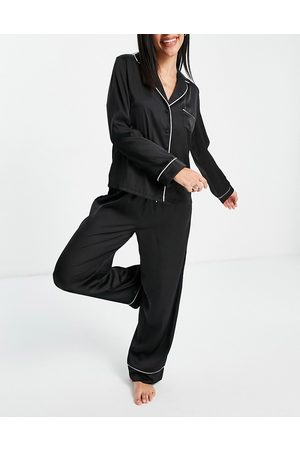 ASOS Satin long sleeve shirt & pants pajama set in