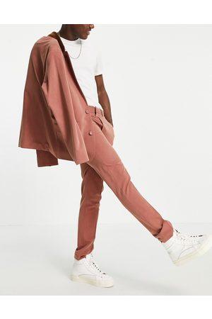 ASOS Men Formal Pants - Soft tailored skinny suit pants in rust herringbone