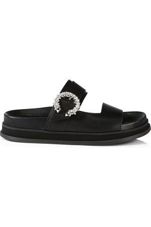 Jimmy Choo Women's Marga Crystal-Embellished Leather Slides - - Size 12 Sandals