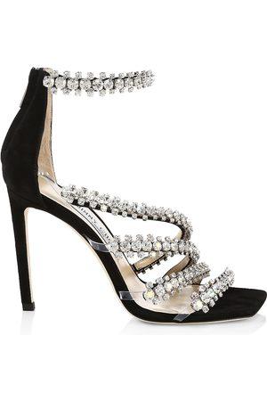 Jimmy Choo Women Sandals - Women's Josefine Crystal-Embellished Suede Sandals - Crystal - Size 11