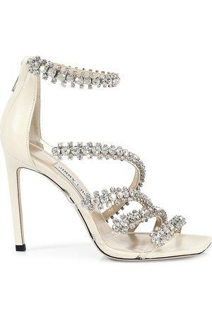 Jimmy Choo Women's Josefine Crystal-Embellished Leather Sandals - Crystal - Size 12