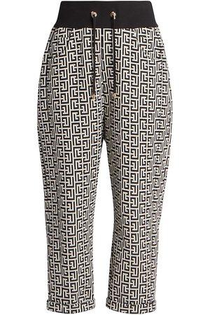 Balmain Women's Monogram Jacquard Boyfriend Sweatpants - Ivory - Size 14