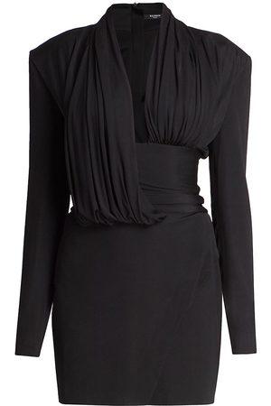 Balmain Women Casual Dresses - Women's Long-Sleeve Draped Jersey Dress - Noir - Size 4