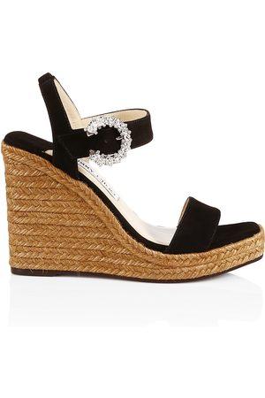 Jimmy Choo Women's Mirabelle Crystal-Embellished Suede Espadrille Wedge Sandals - - Size 12