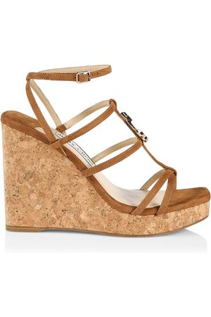 Jimmy Choo Women Platform Sandals - Women's JC Suede Platform Wedge Sandals - Cuoio - Size 11