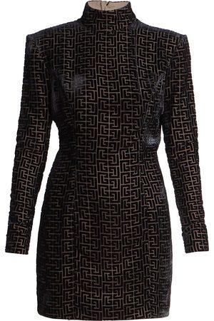 Balmain Women Dresses - Women's Long-Sleeve Monogram Devoré-Velvet Dress - Noir - Size 12