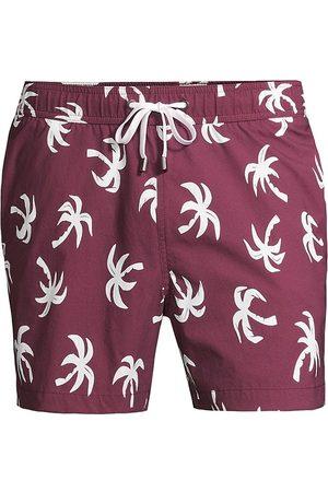 ONIA Men Swim Shorts - Men's Charles 5 Palm Tree Swim Trunks - Wine - Size XL