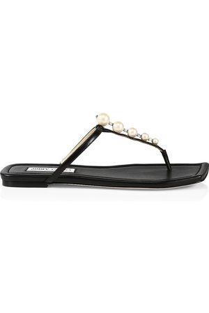 Jimmy Choo Women Sandals - Women's Alaina Faux Pearl-Embellished Leather Sandals - - Size 10