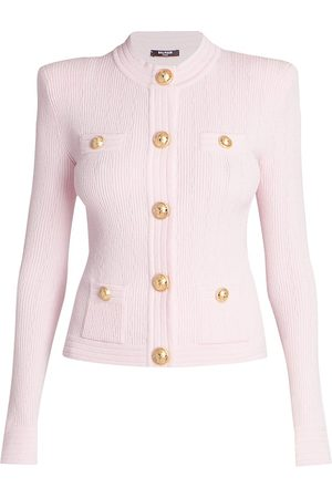 Balmain Women Cardigans - Women's Buttoned Rib-Knit Cardigan - Pale Rose - Size 4