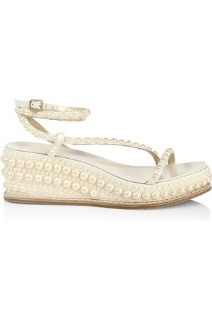 Jimmy Choo Women Wedges - Women's Drive Faux Pearl-Embellished Leather Espadrille Wedge Sandals - - Size 10