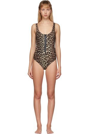 Ganni Women Swimsuits - Tan and Leopard One-Piece Swimsuit