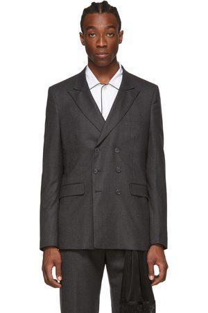 Random Identities Men Blazers - Grey Wool Double-Breasted Blazer