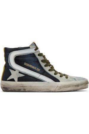 Golden Goose And Grey Denim Slide Sneakers