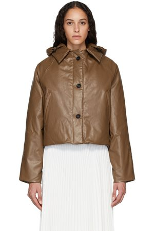 Kassl Editions Tan Down Oil Cropped Puffer Jacket