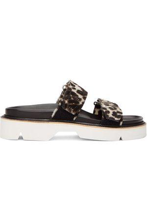 DRIES VAN NOTEN Grey and Cheetah Print Sandals
