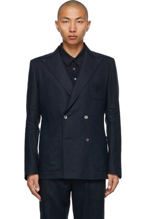 Dolce and Gabbana Navy Linen Double-Breasted Blazer