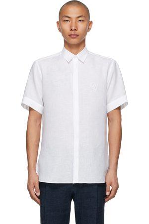 Dolce & Gabbana Linen Embroidered DG Logo Short Sleeve Shirt
