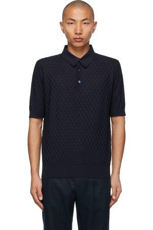 Dolce & Gabbana Navy Silk Jacquard Polo