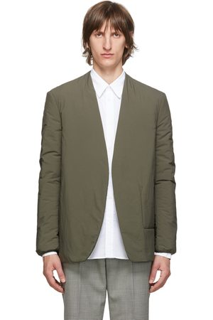 Maison Margiela Khaki Garment-Dyed Collarless Blazer