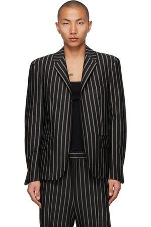 Random Identities And Grey Stripe Buttonless Blazer