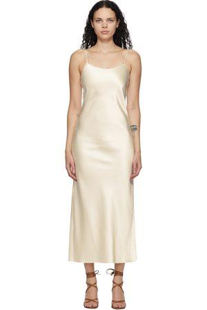 Marina Moscone Off- Heavy Satin Bias Slip Dress