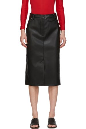 pushBUTTON SSENSE Exclusive Faux-Leather and Denim Skirt