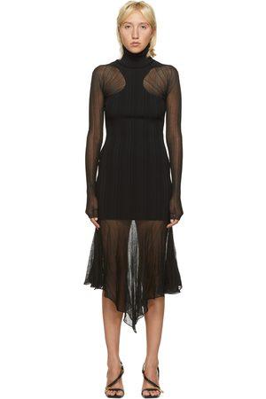 MUGLER Sheer Peaking Long Sleeve Dress