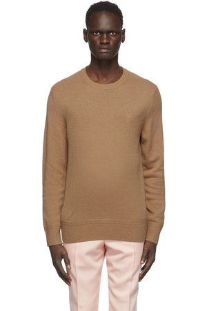 Burberry Men Sweaters - Tan Cashmere Monogram Motif Sweater