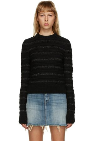 Saint Laurent Striped Sequin Crewneck