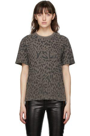 Saint Laurent Grey Leopard Print T-Shirt
