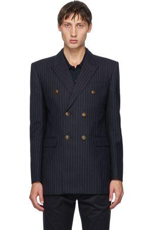 Saint Laurent Navy Wool Pinstripe Blazer