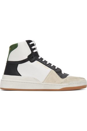 Saint Laurent And Paneled High-Top Sneakers