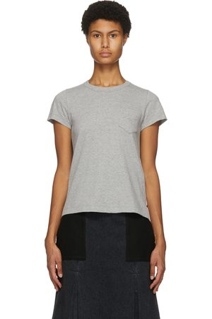 SACAI Grey Pleated Panel T-Shirt