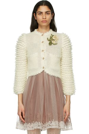 Gucci Off- Mohair Floral Brooch Cardigan