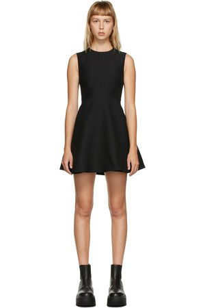 VALENTINO Navy Wool and Silk A-Line Dress
